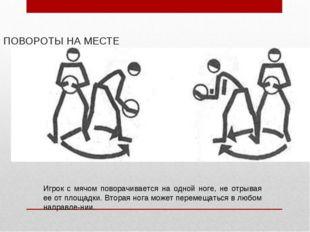 ПОВОРОТЫ НА МЕСТЕ Игрок с мячом поворачивается на одной ноге, не отрывая ее о