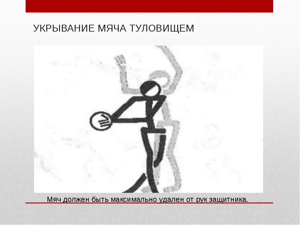 УКРЫВАНИЕ МЯЧА ТУЛОВИЩЕМ Мяч должен быть максимально удален от рук защитника.