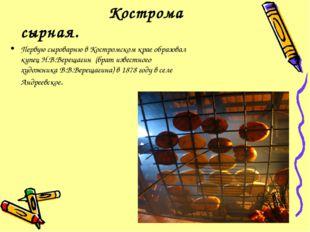 Кострома сырная. Первую сыроварню в Костромском крае образовал купец Н.В.Вер