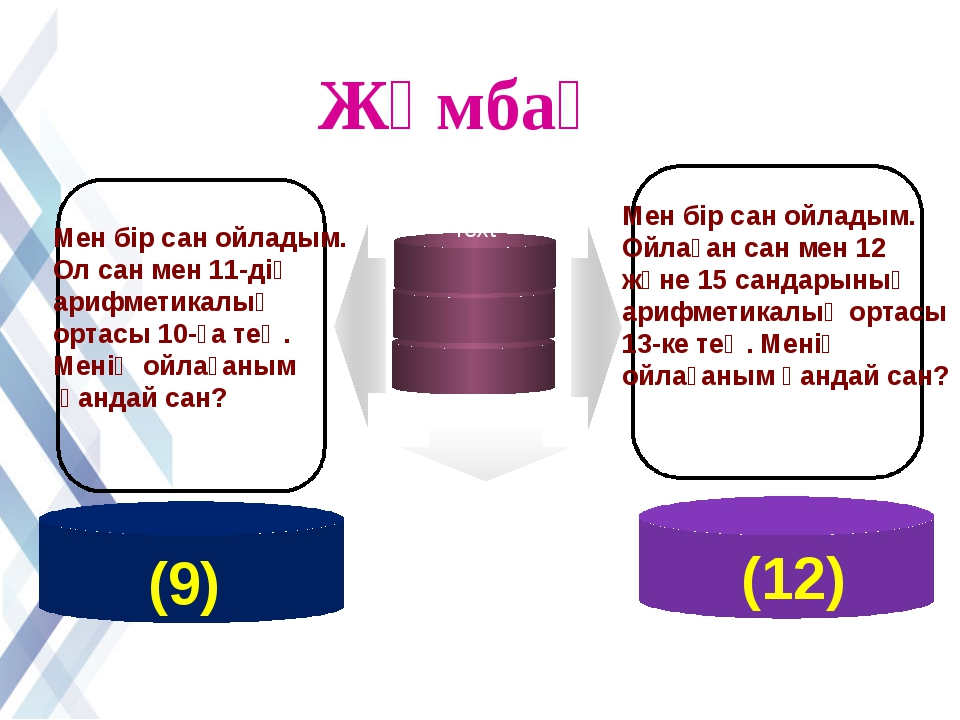 www.themegallery.com Жұмбақ Мен бір сан ойладым. Ол сан мен 11-дің арифметика...