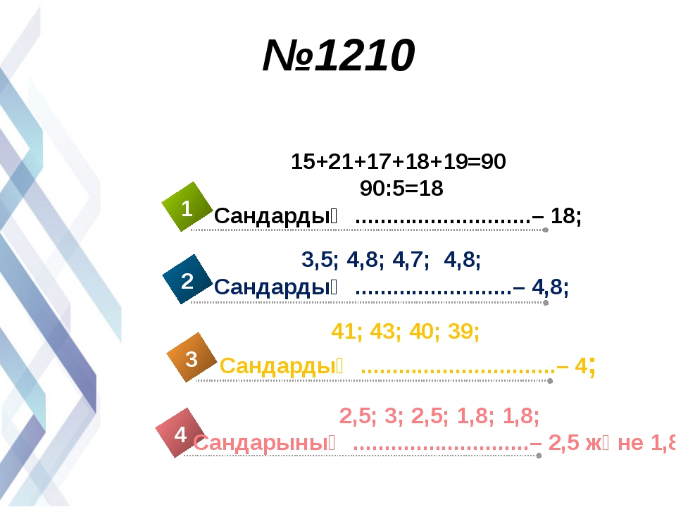 №1210 15+21+17+18+19=90 90:5=18 Сандардың ............................– 18; 3...
