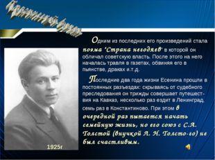 """Одним из последних его произведений стала поэма """"Страна негодяев"""" в которой"""