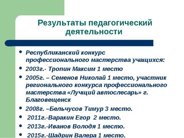 Результаты педагогический деятельности Республиканский конкурс профессиональн...