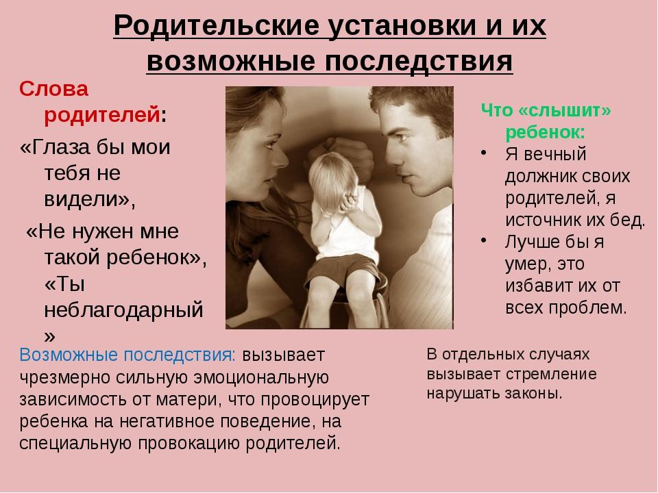 Родительские установки и их возможные последствия Слова родителей: «Глаза бы...