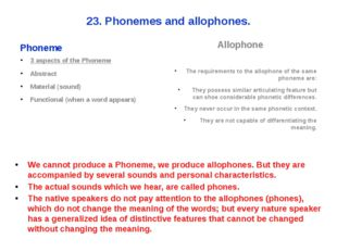 23. Phonemes and allophones. Phoneme 3 aspects of the Phoneme Abstract Materi