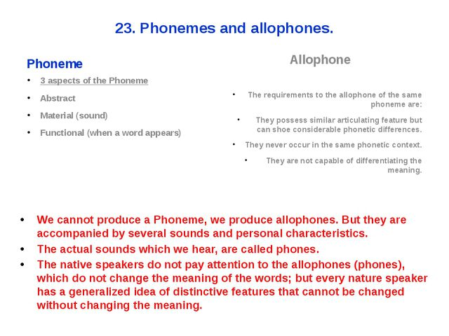 23. Phonemes and allophones. Phoneme 3 aspects of the Phoneme Abstract Materi...