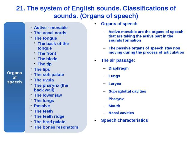 21. The system of English sounds. Classifications of sounds. (Organs of speec...