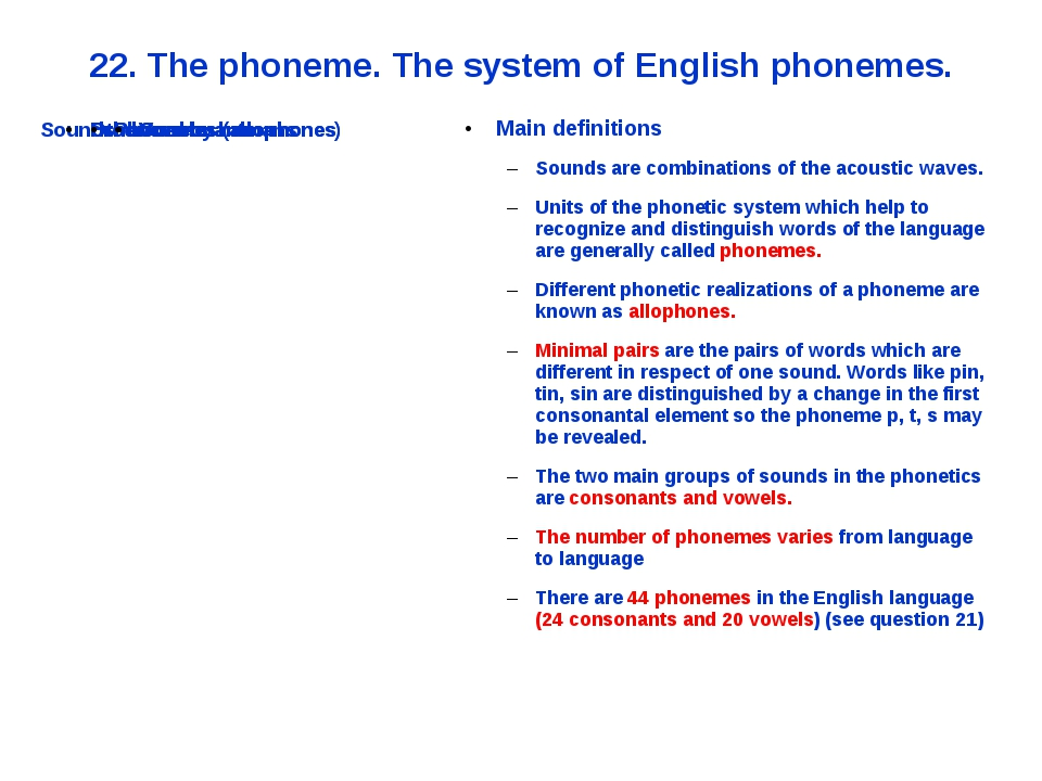 22. The phoneme. The system of English phonemes. Main definitions Sounds are...