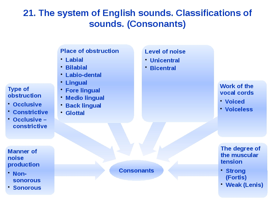 21. The system of English sounds. Classifications of sounds. (Consonants)