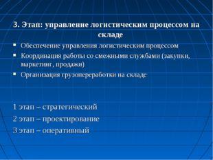 3. Этап: управление логистическим процессом на складе Обеспечение управления