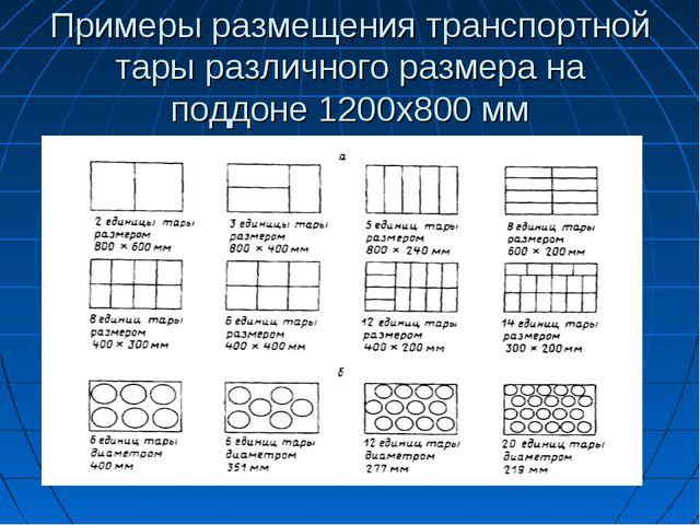 Примеры размещения транспортной тары различного размера на поддоне 1200х800 мм