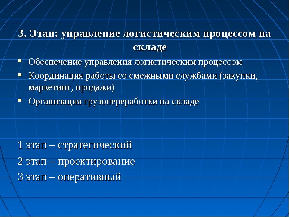 3. Этап: управление логистическим процессом на складе Обеспечение управления...