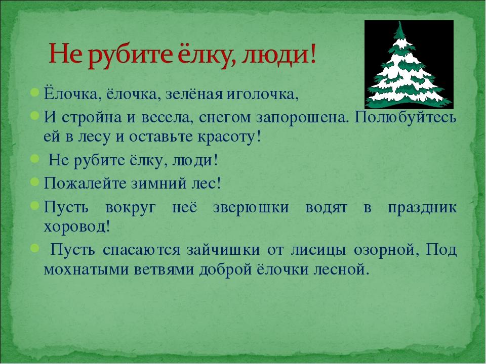 Ёлочка, ёлочка, зелёная иголочка, И стройна и весела, снегом запорошена. Полю...