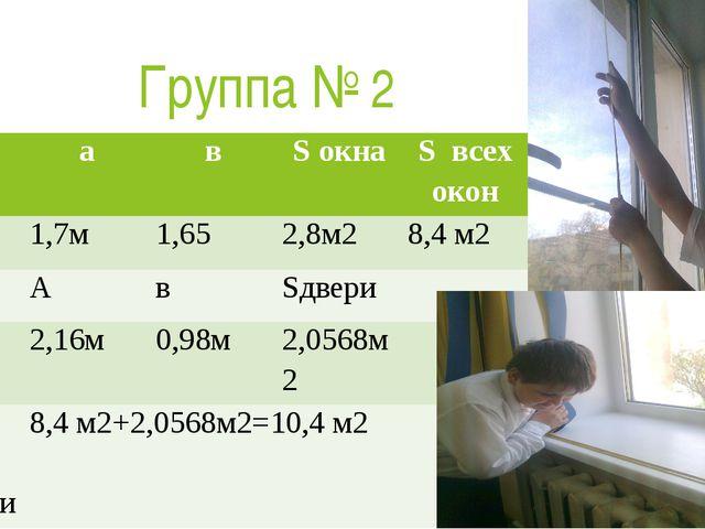 Группа № 2 № а в Sокна Sвсех окон 1 1,7м 1,65 2,8м2 8,4 м2 А в Sдвери 2 2,16м...