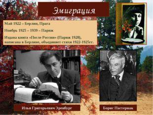 Эмиграция Май 1922 – Берлин, Прага Ноябрь 1925 – 1939 – Париж Издана книга «П
