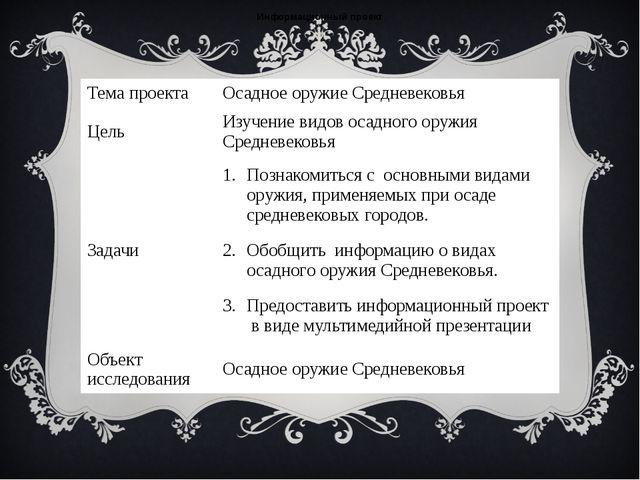 Информационный проект Темапроекта Осадное оружие Средневековья Цель Изучение...