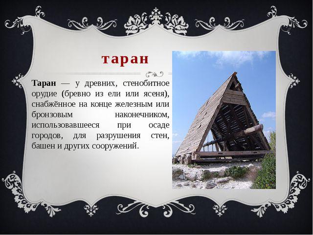 таран Таран — у древних, стенобитное орудие (бревно из ели или ясеня), снабжё...