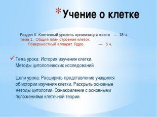 Тема урока: История изучения клетки. Методы цитологических исследований Цели