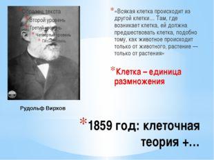 1859 год: клеточная теория +… «Всякая клетка происходит из другой клетки… Там