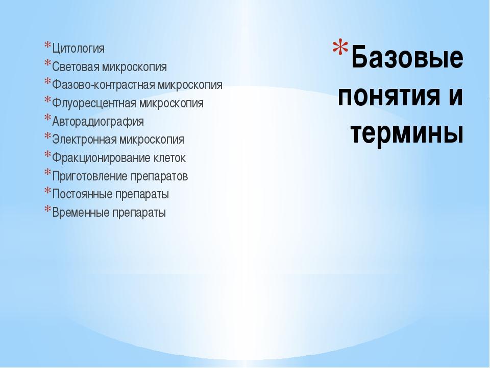 Базовые понятия и термины Цитология Световая микроскопия Фазово-контрастная м...