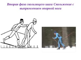 Вторая фаза скользящего шага Скольжение с выпрямлением опорной ноги