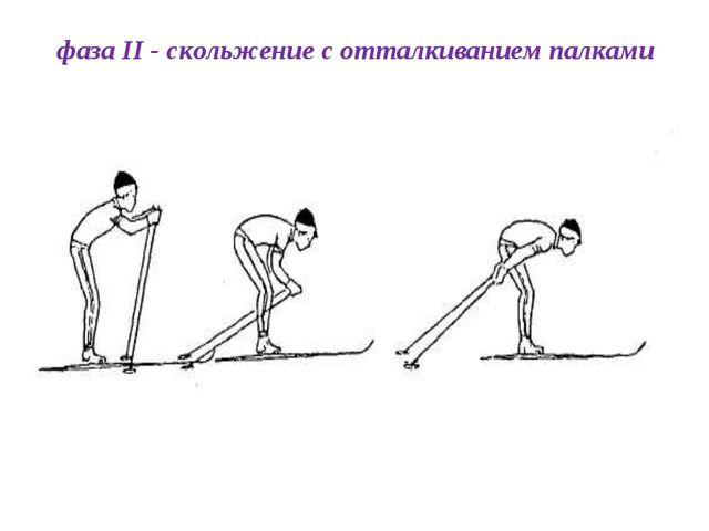 фаза II - скольжение с отталкиванием палками