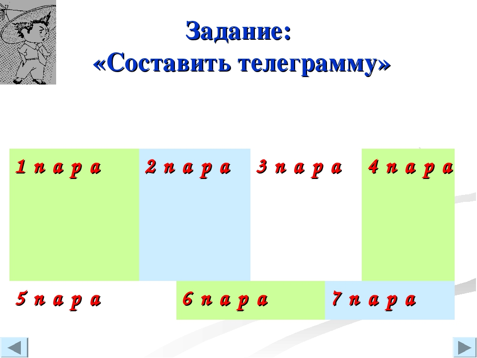 Задание: «Составить телеграмму» 1 пара2пара3пара4пара...