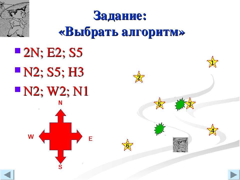 Задание: «Выбрать алгоритм» 2N; E2; S5 N2; S5; H3 N2; W2; N1 N W S Е 3 4 2 6...
