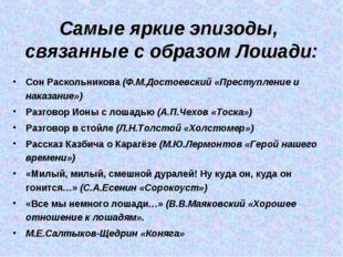 Самые яркие эпизоды, связанные с образом Лошади: Сон Раскольникова (Ф.М.Досто