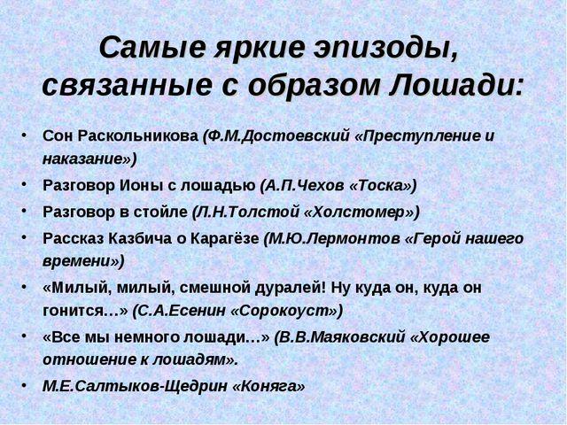 Самые яркие эпизоды, связанные с образом Лошади: Сон Раскольникова (Ф.М.Досто...