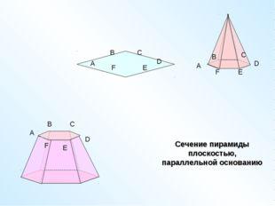 A B C D E F A B C D E F A B C D E F Сечение пирамиды плоскостью, параллельной