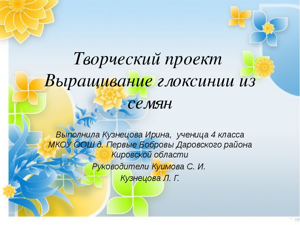 Творческий проект Выращивание глоксинии из семян Выполнила Кузнецова Ирина, у...