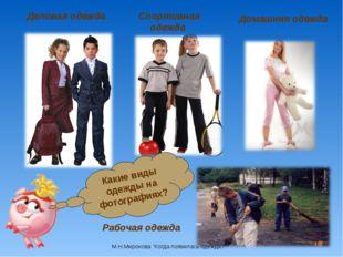 * Деловая одежда Спортивная одежда Домашняя одежда Рабочая одежда Какие виды