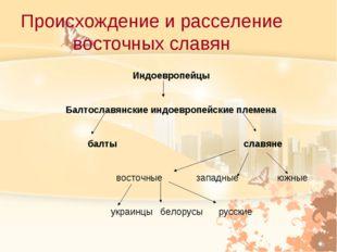 Происхождение и расселение восточных славян Индоевропейцы Балтославянские инд