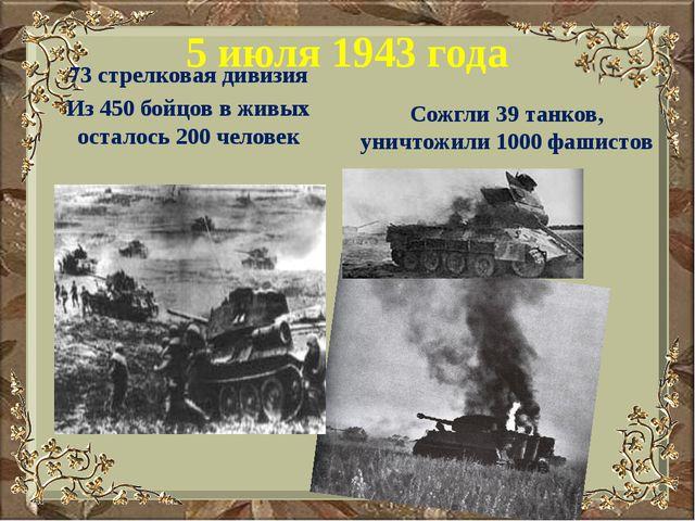5 июля 1943 года 73 стрелковая дивизия Из 450 бойцов в живых осталось 200 чел...