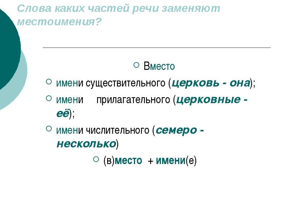 Слова каких частей речи заменяют местоимения? Вместо имени существительного (...