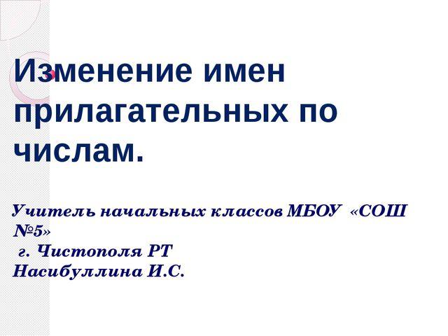 Изменение имен прилагательных по числам. Учитель начальных классов МБОУ «СОШ...