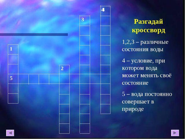 Разгадай кроссворд 1,2,3 – различные состояния воды 4 – условие, при котором...