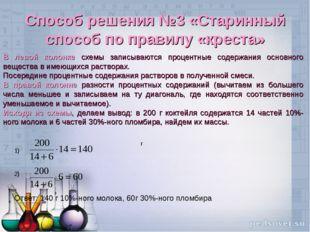Способ решения №3 «Старинный способ по правилу «креста» В левой колонке схемы