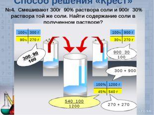 Способ решения «Крест» №4. Смешивают 300г 90% раствора соли и 900г 30% раство