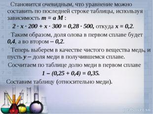Становится очевидным, что уравнение можно составить по последней строке табл