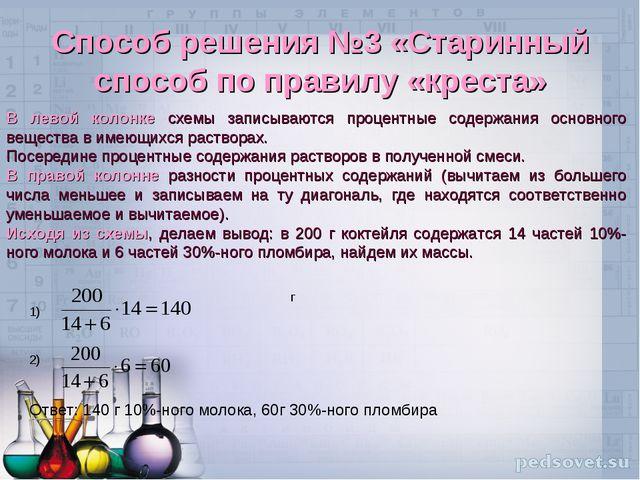 Способ решения №3 «Старинный способ по правилу «креста» В левой колонке схемы...