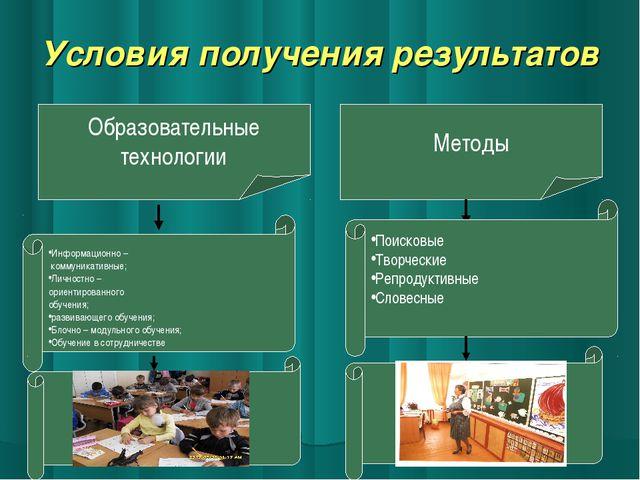Условия получения результатов Образовательные технологии Информационно – комм...