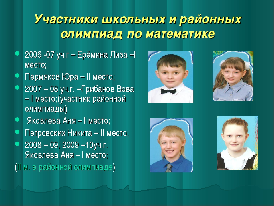 Участники школьных и районных олимпиад по математике 2006 -07 уч.г – Ерёмина...