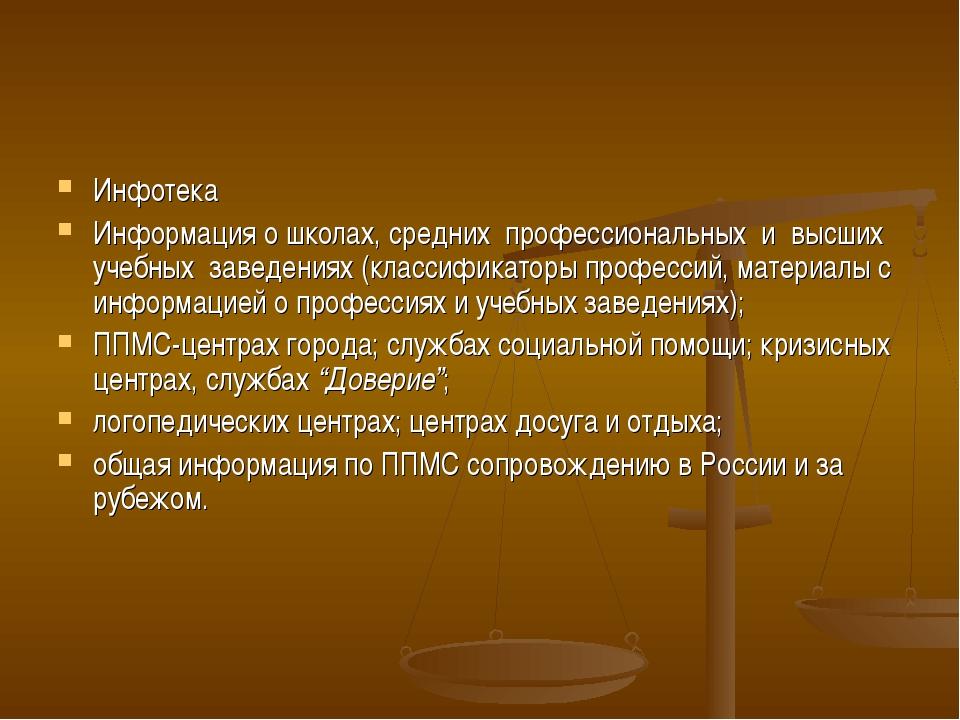 Инфотека Информация о школах, средних профессиональных и высших учебных...