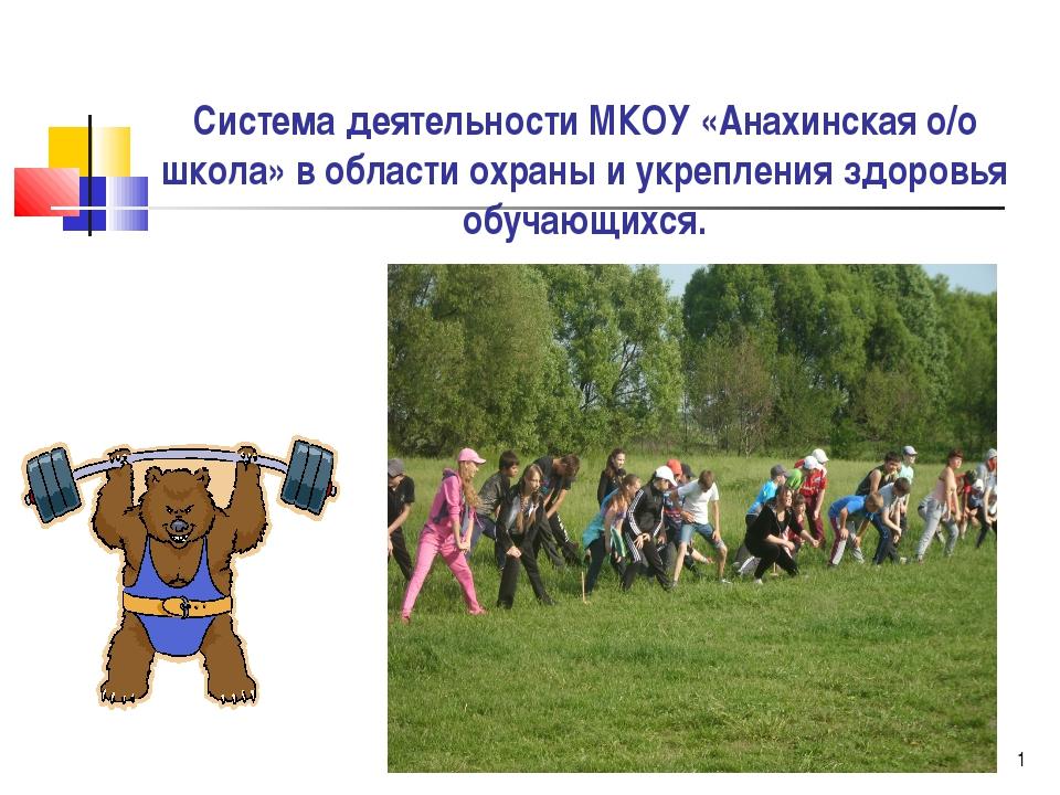 * Система деятельности МКОУ «Анахинская о/о школа» в области охраны и укрепле...