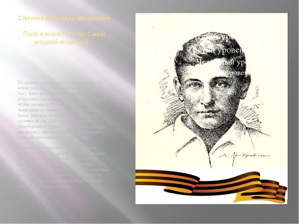 Степанов Александр Михайлович Погиб в возрасте 20 лет. Самый младший из сынов...