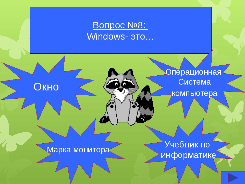 Вопрос №8: Windows- это… Окно Марка монитора Учебник по информатике Операцион...
