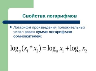 Свойства логарифмов Логарифм произведения положительных чисел равен сумме лог
