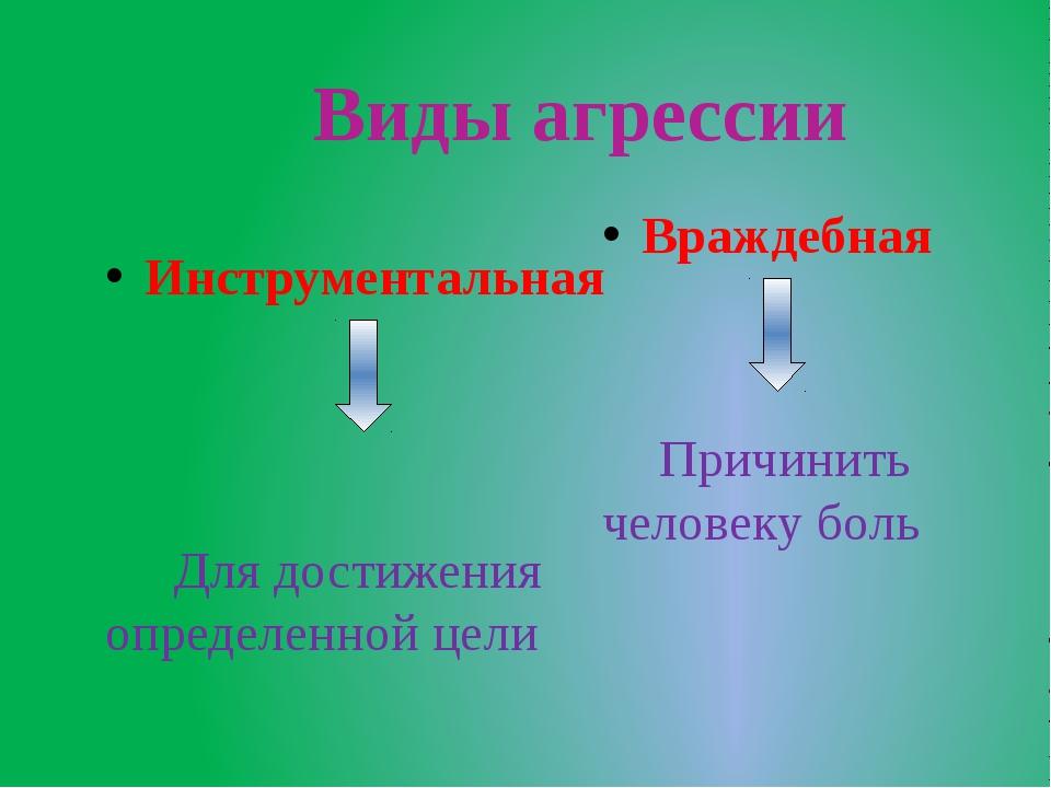 Виды агрессии Инструментальная Для достижения определенной цели Враждебная П...